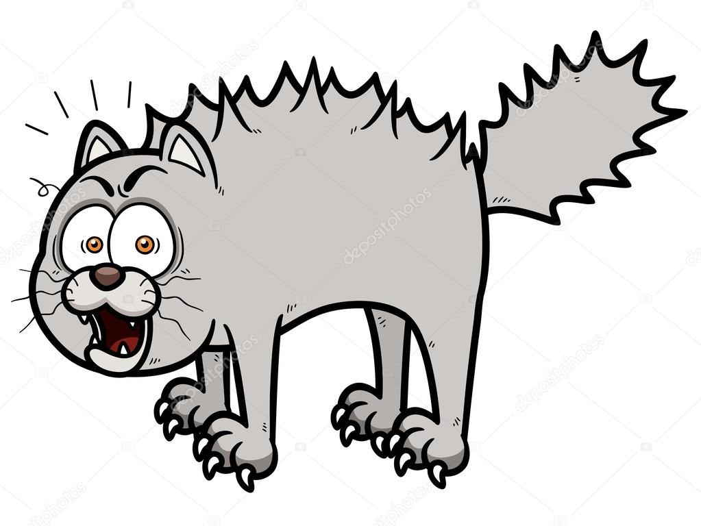 Scared cartoon cat