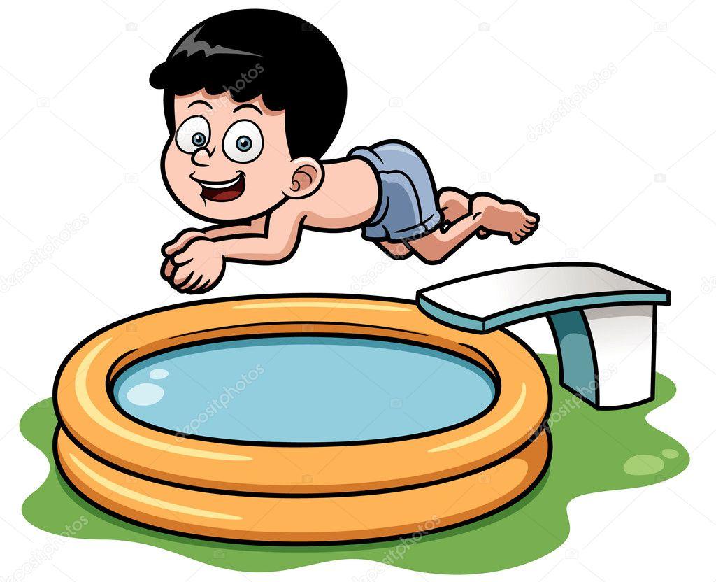 Ni o de dibujos animados buceo en la piscina vector de for Fondos de piscinas dibujos