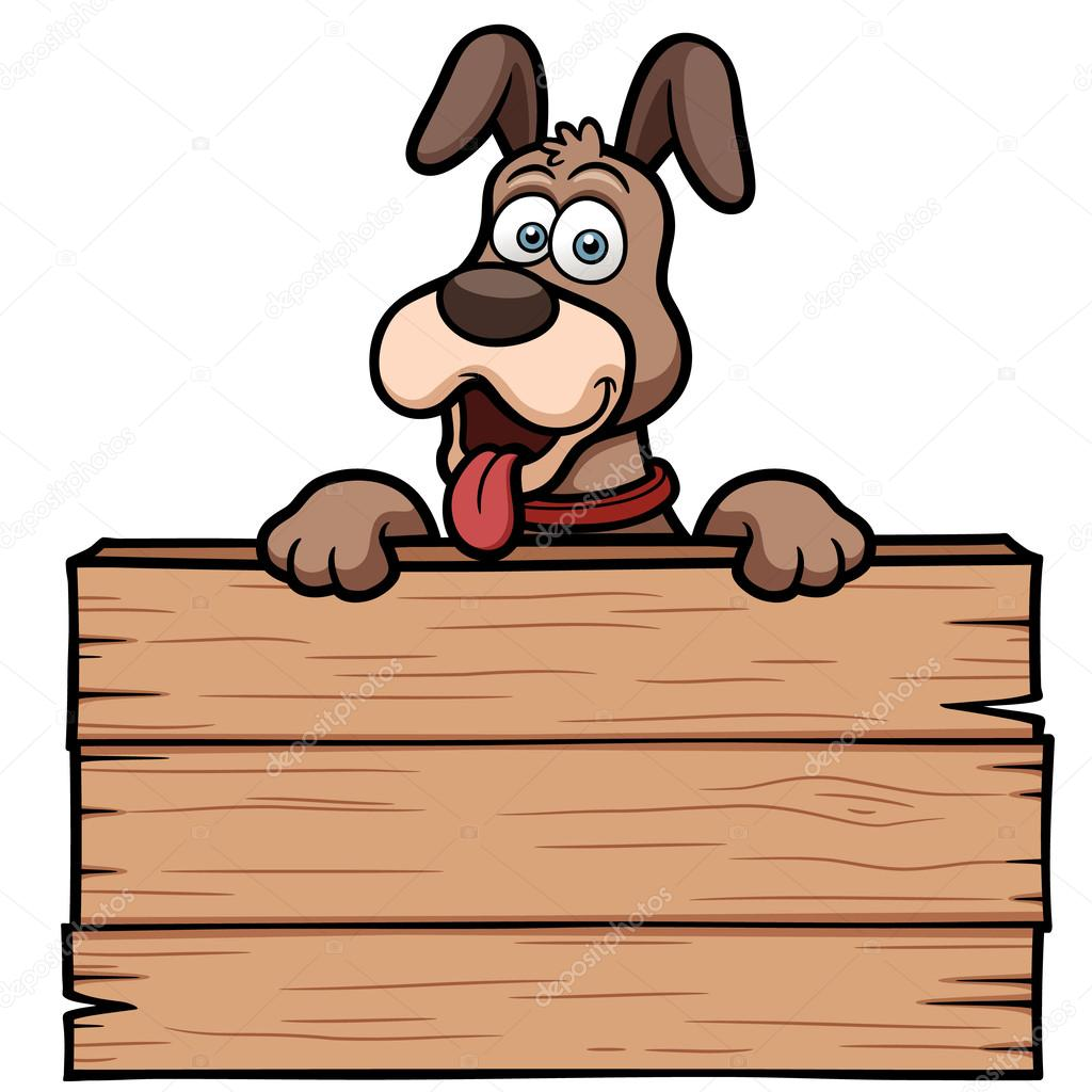 Cartoon Dog with wooden sign