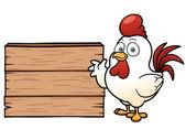 Fotografia cartone animato pollo con cartello in legno