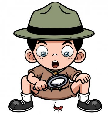 Vector illustration of Boy with magnifying glass stock vector