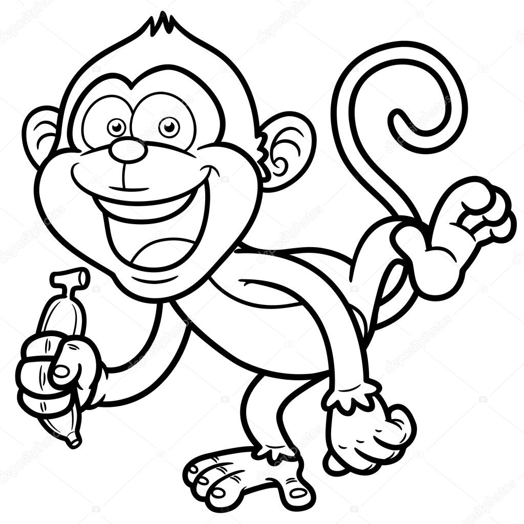 Cartoon monkey with banana - Coloring book