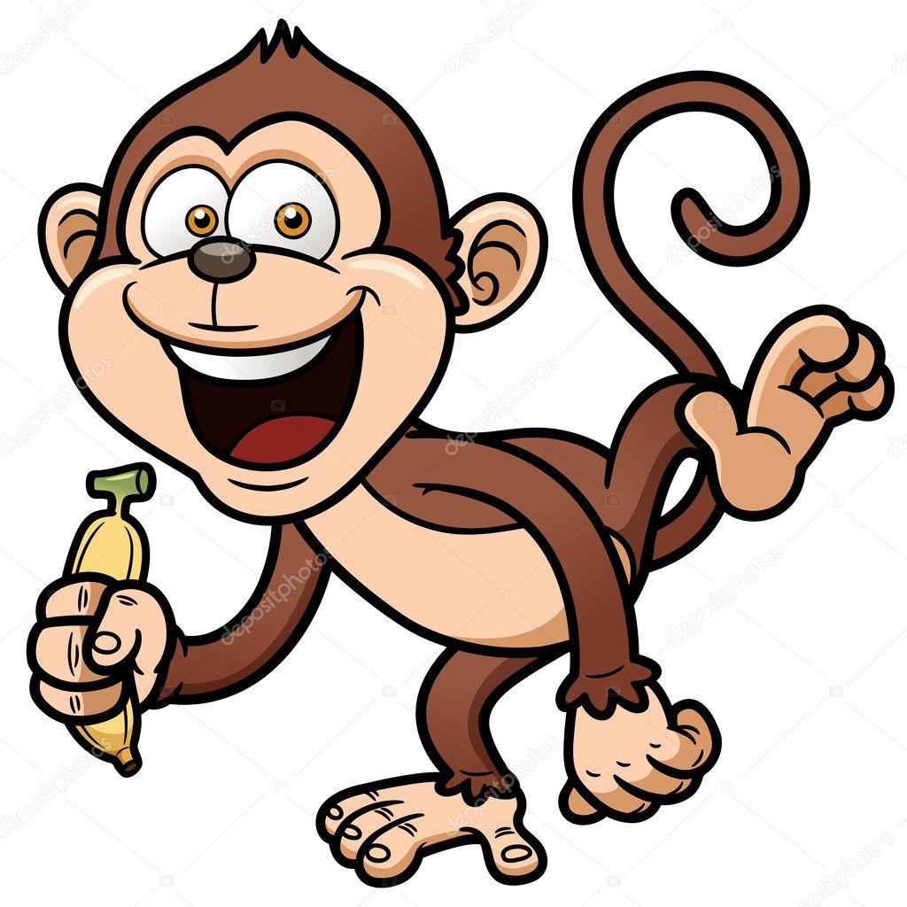 Cartoon monkey with banana