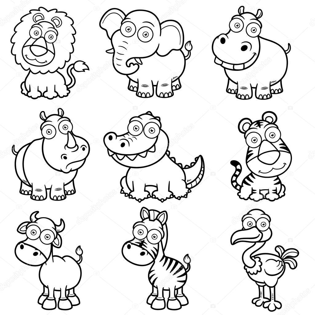 Imágenes Animale Salvajes Para Colorear Dibujos Animados De