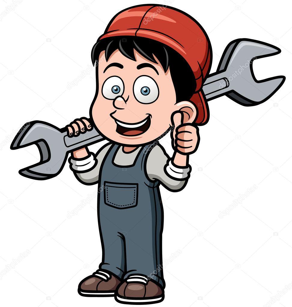 Cartoon mechanic holding a huge wrench