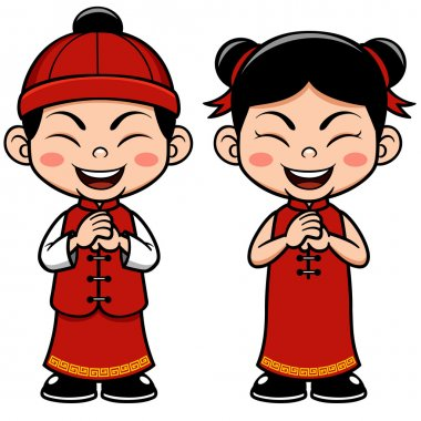 Vector illustration Chinese Kids stock vector