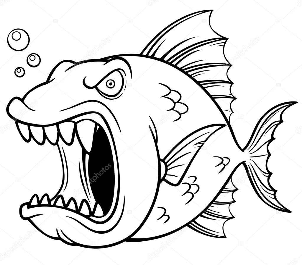 Angry Fish Cartoon Stock Vector C Sararoom 37444489