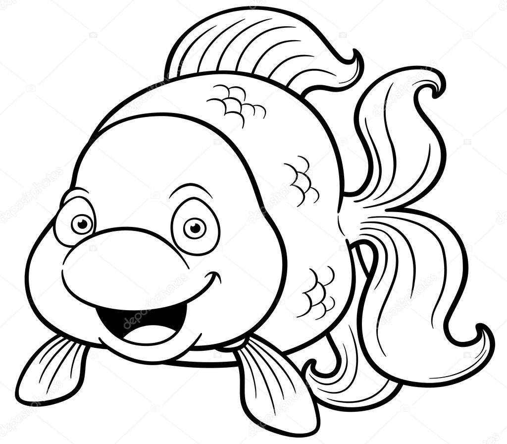 Ilustración de dibujos animados de peces de colores — Vector de ...