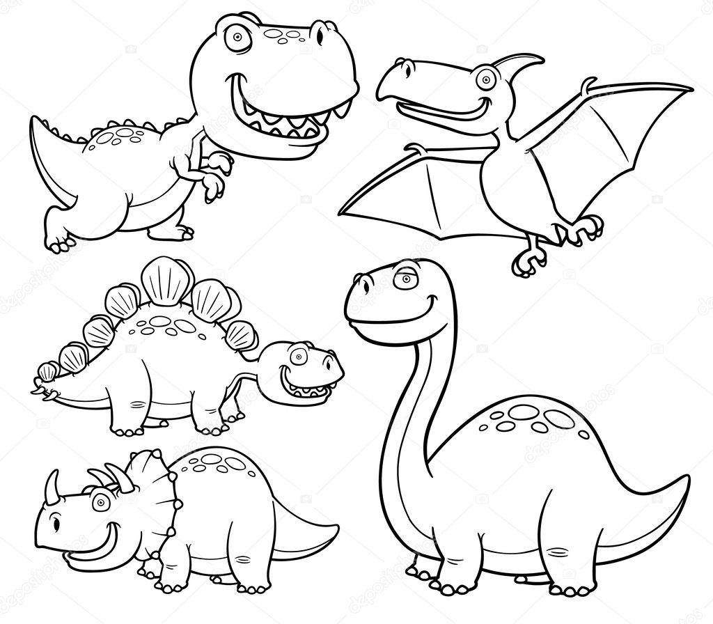 dibujos animados de dinosaurios — Archivo Imágenes Vectoriales ...