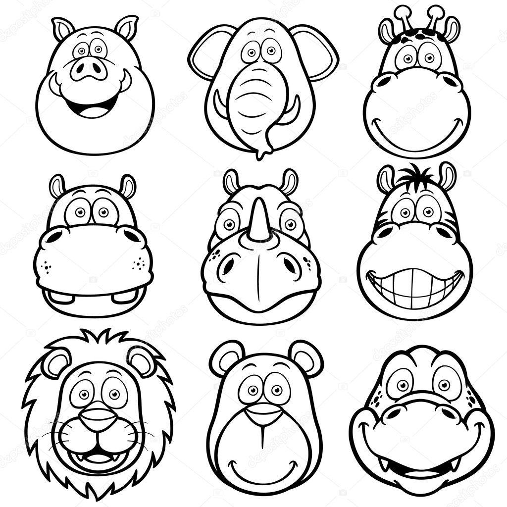 Wild animals faces cartoons