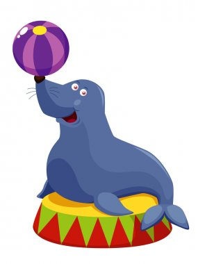 Vector illustration of Circus seal playing a ball stock vector