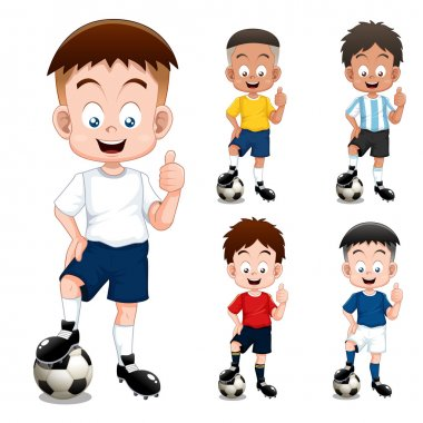 Boy soccer player international collection stock vector