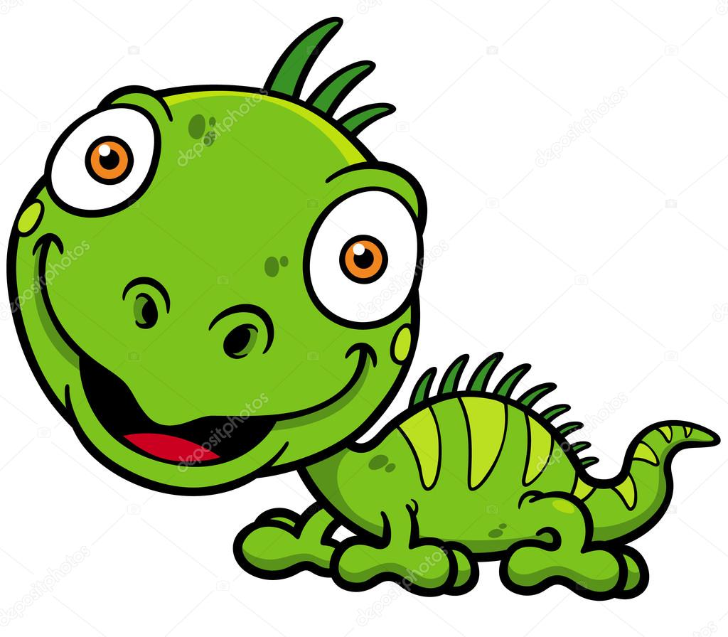 Iguana verde cartone animato — vettoriali stock sararoom