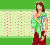 Young mother with her child on a flower background in green tones