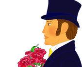 Portrét mladý romantický muž s kytice, izolovaný. Velká velikost obrazu, výborná kvalita