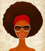 Fotografie Portrait of a young black woman on ethnic background, model of fashion, illustration