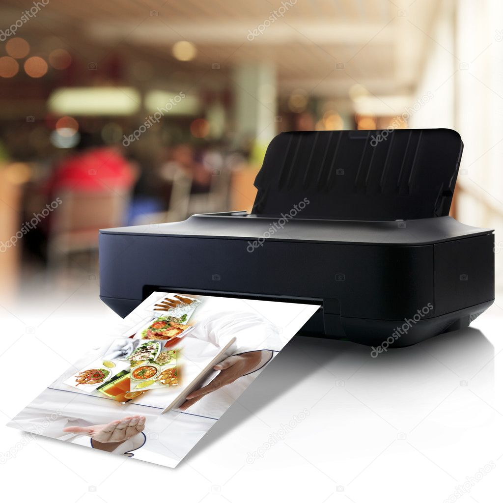 Printer And Picture With Menu In A Restaurant Stock Photo