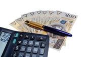 Fotografie Polish money salary calculator and a pen