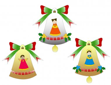 Trio of Christmas bells isolated
