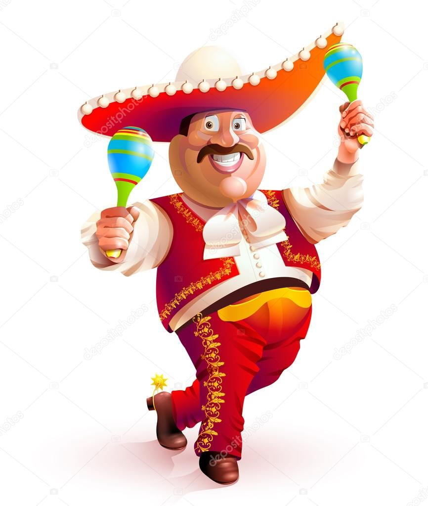 Mexican man dancing traditional dress