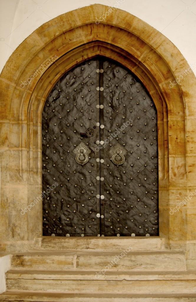 Iron gothic doors \u2014 Stock Photo & Iron gothic doors \u2014 Stock Photo © firstpentuer #27554435