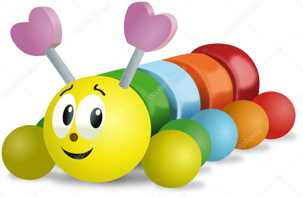 Colorful smiling wooden caterpillar toy on wheels stock vector