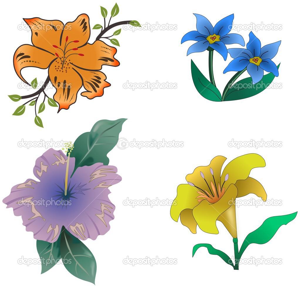 Imágenes Flores Con Color Animadas Conjunto De Dibujos Animados
