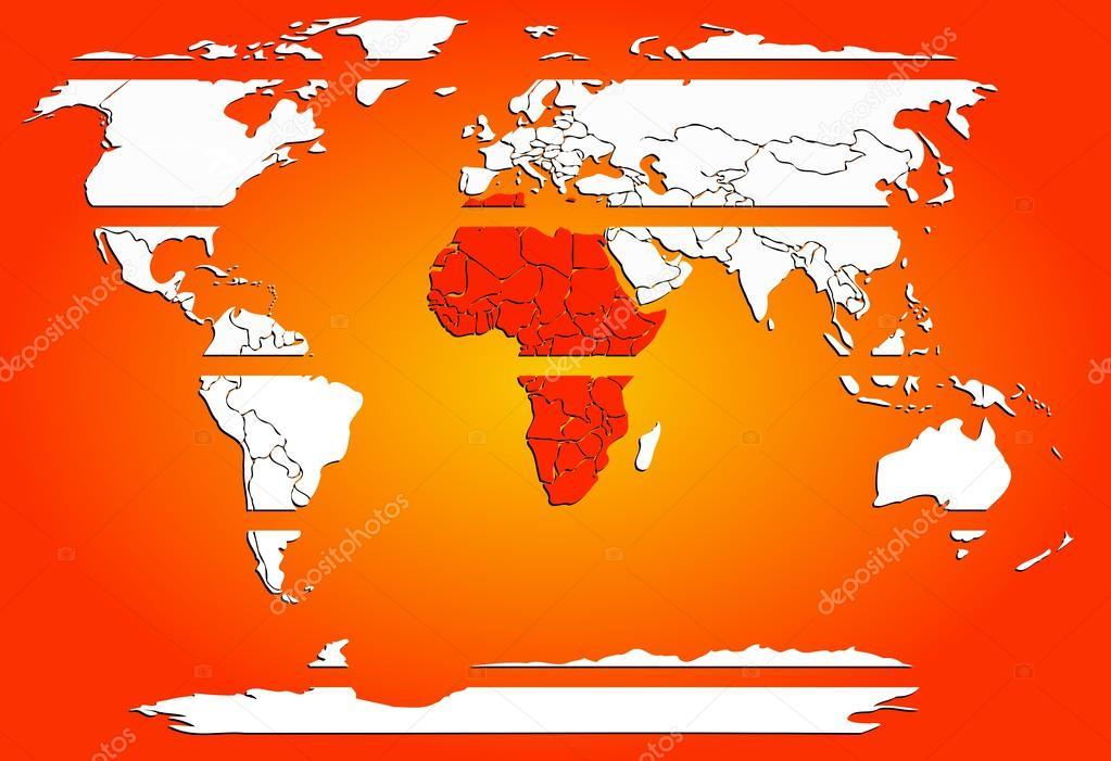 Dünya Harita Beyaz Kıta Kırmızı Sıcak Afrika Ile Dilimlenmiş Stok