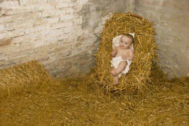 Baby jesus lying on hay in christmas scene