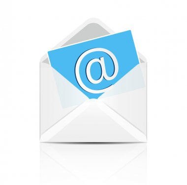 E mail concept. White envelope with email sign icon.