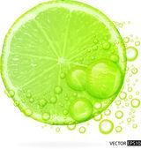 grüne Limette mit Wasserspritzer