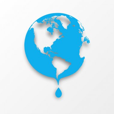 Vector blue earth globe with drop of water.Raster version.