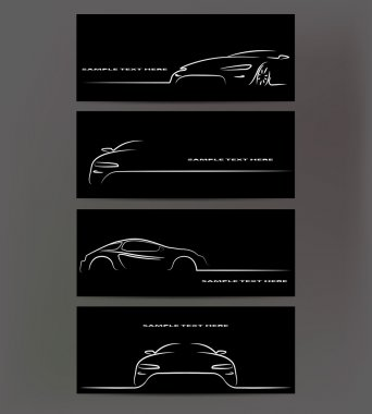 Silhouette of car on black background. Vector illustration stock vector