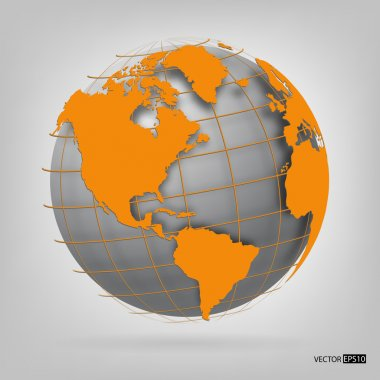 3d globe of the world. vector illustration.