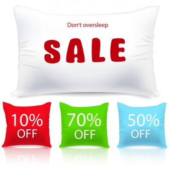 Vector pillows as sale or discount tags isolated