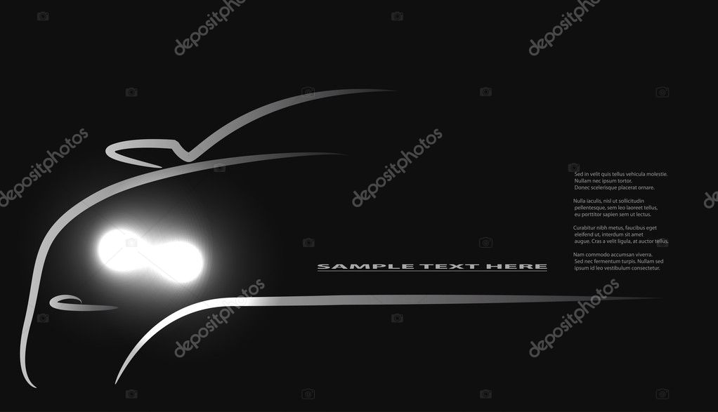 Silhouette of car with headlights on black background. Vector illustration