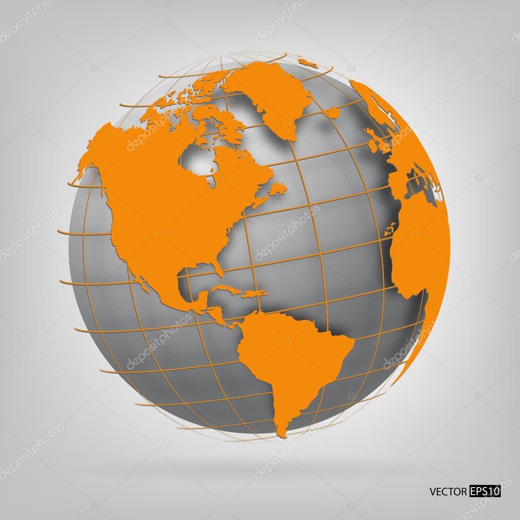 3d globe of the world. vector illustration.
