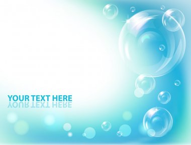 Vector water drops on blue wave background.