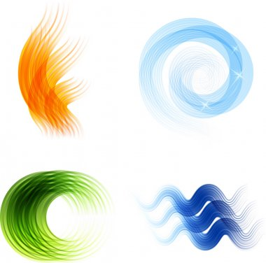 Different abstract logos and elements for design(icon). Blue and green set