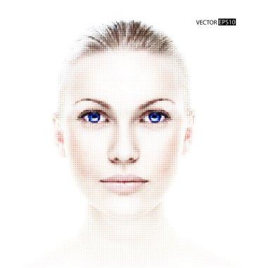 Digital dotted beautiful woman's portrait.Vector illustration,digita l art.