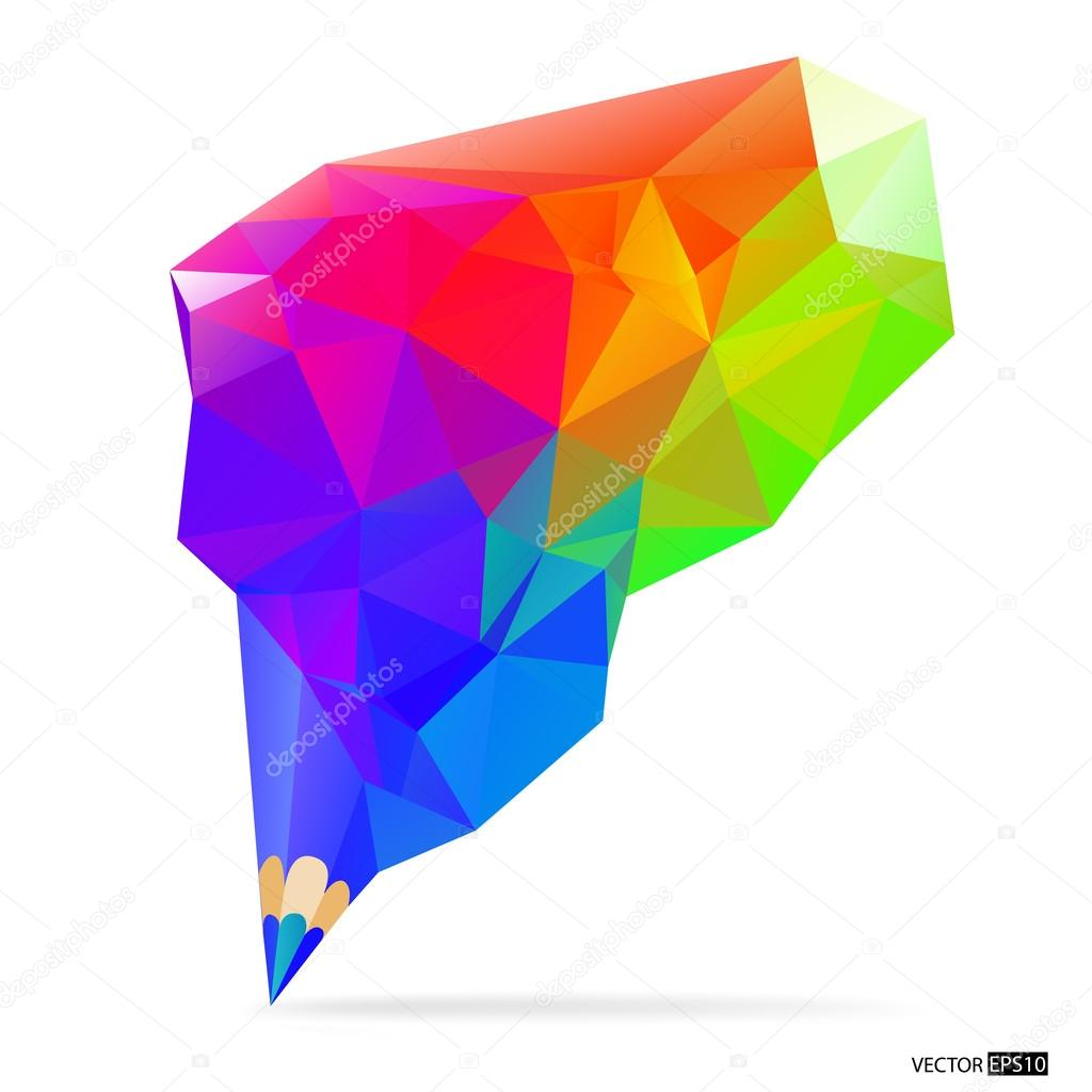 Pencil with colored polygonal design. Art concept