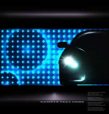 Silhouette of car with headlights