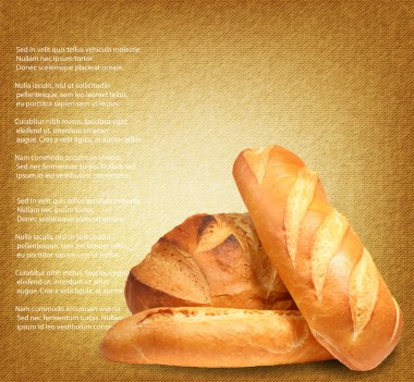 Fresh bread on textile background