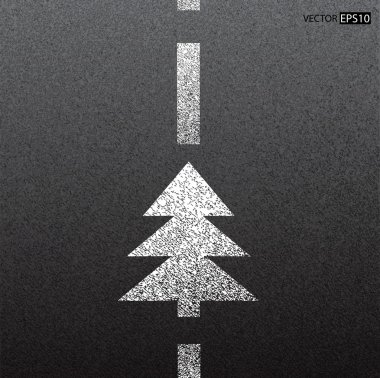 Asphalt dark texture with white line and christmas tree