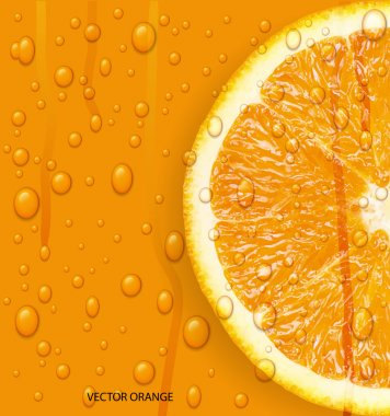 Orange fruit with water drops background