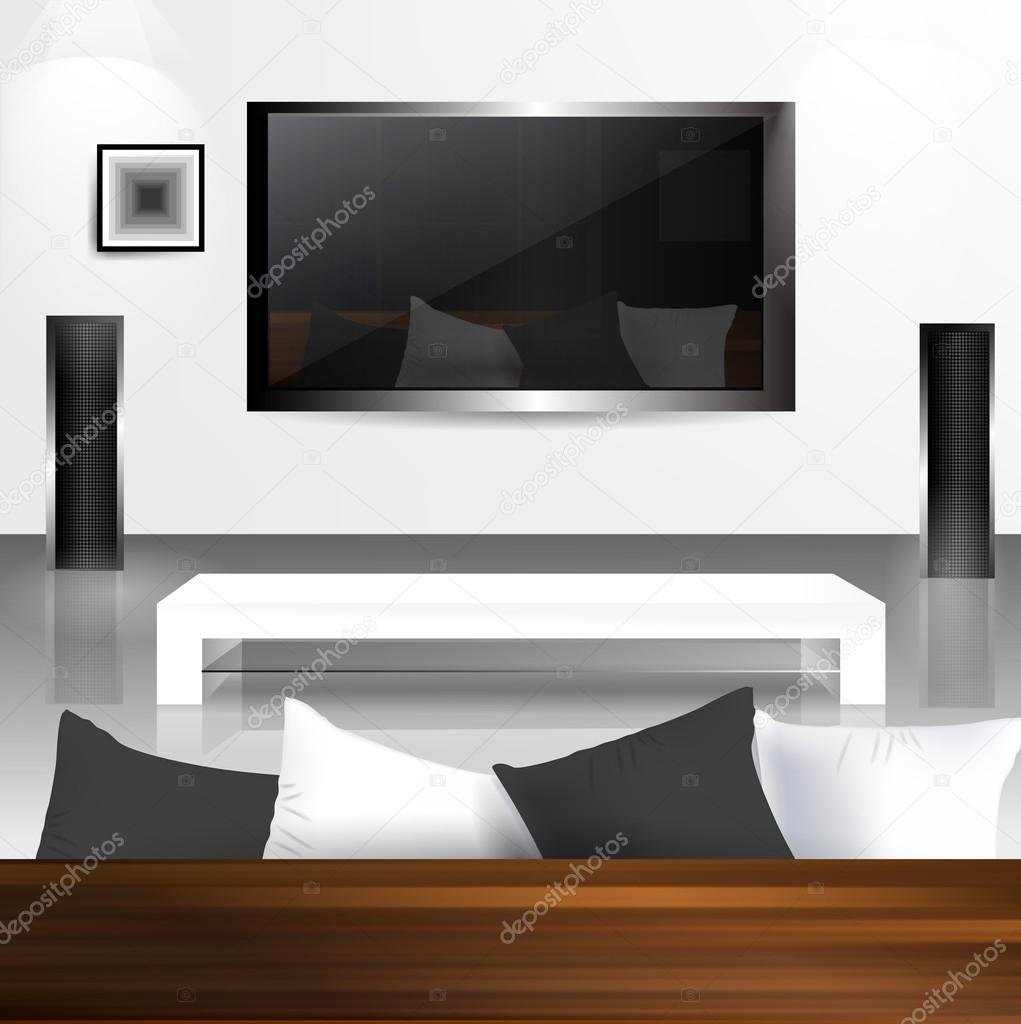 interieur met lcd tv scherm met reflectie woonkamer in het ...