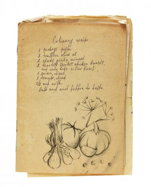 Old recipe book isolated