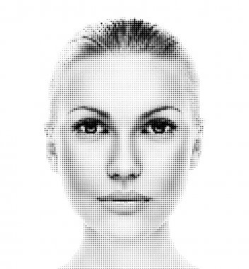 Digital dotted beautiful woman's portrait.
