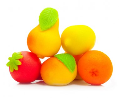 Sweet fruit marzipan candy isolated