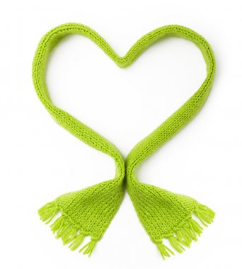 Green wool scarf heart shape